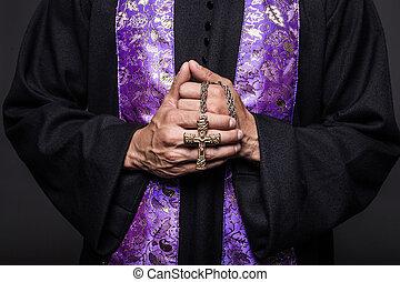 Concept: prayer - Concept: prayer. Studio shot on black...