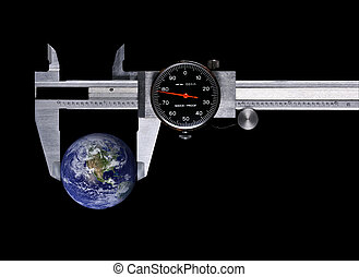 concept, precision - a caliper with globe on black ...