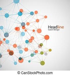 concept, presentation., vecteur, relier, fond, réseau