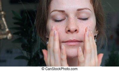 concept, previously, skincare, behandeling, huid, verticaal,...