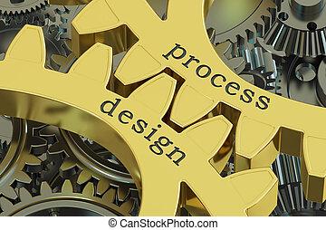 concept, processus, rendre, conception, engrenages, 3d