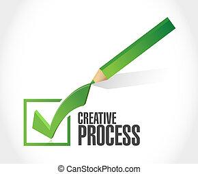 concept, processus, signe, marque, créatif, chèque