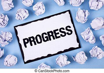 concept, processus, texte, dans, collant, croissance, amélioration, bleu, but, depelopment, écriture, note, arrière-plan., écrit, blanc, réaliser, business, balles, mot, papier ordinaire, progress.