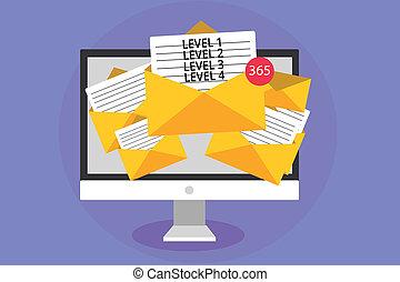 concept, processus, texte, informatique, virtual., 1, écriture, 4., 3, 2, enveloppes, papiers, réception, business, couler, niveaux, email, mot, niveau, travail, messages, important, étapes