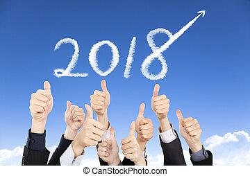 concept, professionnels, haut, 2018, année, pouces