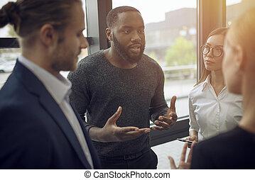 concept, professionnels, travail, association, collaboration, ensemble., équipe