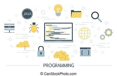 concept., programa computador, idéia, trabalhando