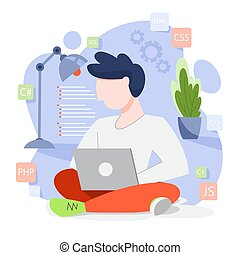 concept., programación, computadora, trabajando, idea