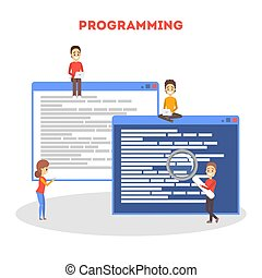 concept., programmation ordinateur, idée, fonctionnement