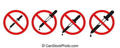 concept., prohibición, pipeta, no, prueba, análisis, signo.