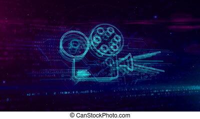 concept, projecteur, film, joueur, hologramme, boucle