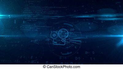 concept, projecteur, tunnel, film, joueur, hologramme