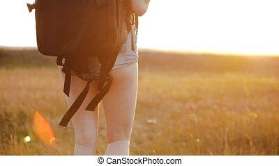 concept, promenade, femme, voyageur, girl, voyage, mouvement...