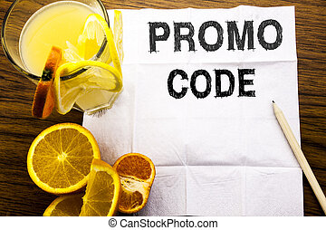concept, promo, business, orange, bois, texte, projection, restaurant, tissu, stylo, jus fruit, écrit, papier, fond, ligne, conceptuel, promotion, sous-titre, sain, code.