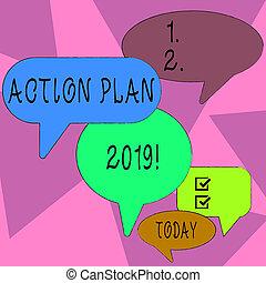 concept, proposé, couleur, texte, actions, cours, année, écriture, différent, groupe, stratégie, courant, parole, 2019., bulle, discussion., plan affaires, mot, tailles, beaucoup, ombre, action, ou