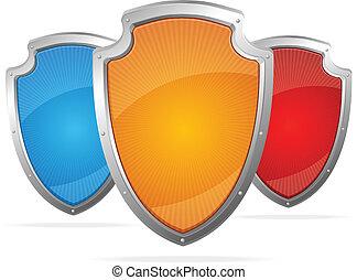 concept, protection, shields., métal, vecteur, vide
