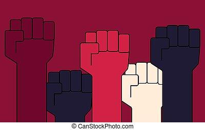 concept., protesta, vector, gente, arriba., levantado, puños, ilustración