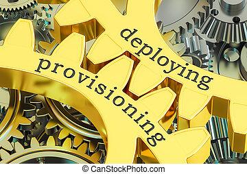 concept, provisioning, rendre, engrenages, déployer, 3d