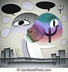 concept, psychologie, symbiose