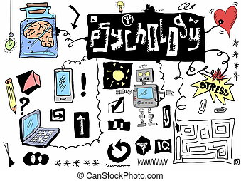 concept psychology communication, color doodle icons and...