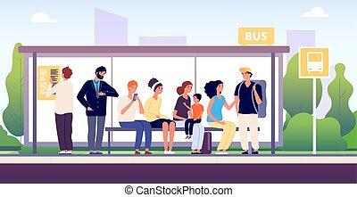 concept, public, autobus, dessin animé, gens, ensemble, urbain, stop., ville, debout, transport, attente, passagers, autobus, vecteur, communauté, trafic