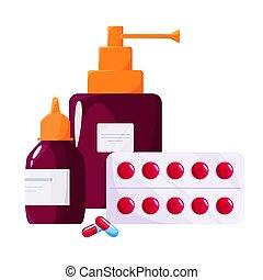 concept., pulvérisation, bottle., pharmacie, drogue, ...