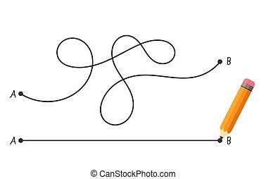 concept, punt, recht, problemen, vrijstaand, b, gecompliceerd, white., steegjes, oplossingen