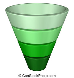 Concept: purchase funnel. 3D rendering. - Concept: purchase...