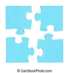 concept, puzzelstukjes, vier, gecombineerd, samenwerking
