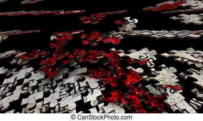 concept, puzzle, croix, rouges, bible