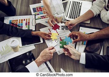 concept, puzzle, démarrage, intégration, morceaux, collaboration, partners.