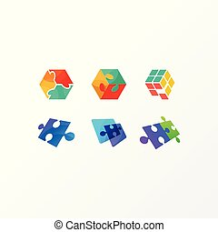 concept, puzzle, illustration, vecteur, conception, gabarit