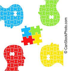 concept, puzzle, vecteur, têtes