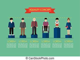 concept, question, infographic, égalité, social