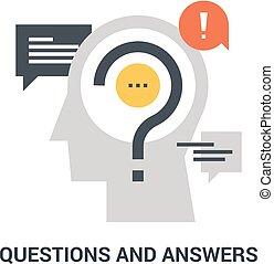 concept, questions, réponses, icône