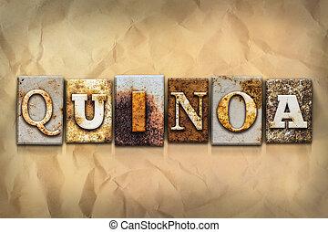 concept, quinoa, geroeste, metaal, type