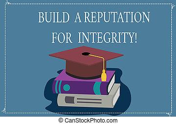 concept, réaction, couleur, texte, obtenir, basé, écriture, construire, photo, chapeau, 3d, reposer, bon, ethique affaires, integrity., gland, mot, books., casquette, remise de diplomes, universitaire, réputation