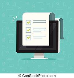 concept, réaction, informatique, fait, checkboxes, essai, moniteur, long, pc, ligne, document, plat, liste contrôle, complété, papier, dessin animé, choses, illustration, interroger, liste, vecteur, enquête