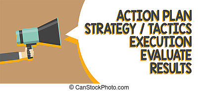 concept, réaction, message texte, stratégie, haut-parleur, gestion, écriture, parole, tenue, results., porte voix, bulle, parler, loud., business, évaluer, plan, mot, exécution, homme, tactique, action