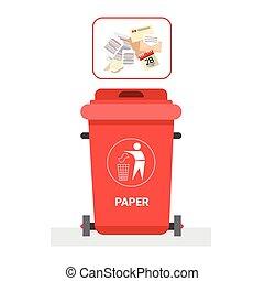 concept, récipient, tri, déchets, papier, déchets, recyclez logotype, gaspillage, icône