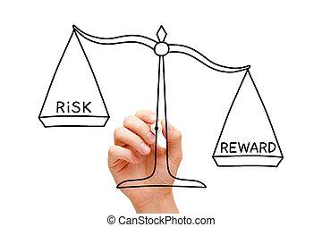 concept, récompense, échelle, risque