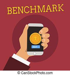 concept, référence, point, texte, contre, comparé, choses, benchmark., tenue, smartphone, screen., hu, touchpad, signification, main, norme, bouton, analyse, rond, écriture, mâle, ou