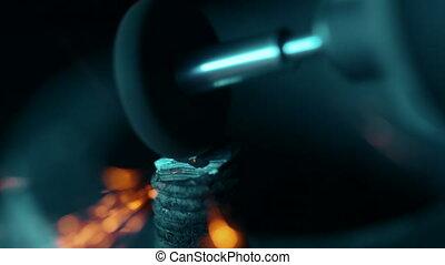 concept, réparation auto, close-up., grinded, magasin, restoration., boulon, tool., puissance, tenu dans main, moteur, voiture, métal