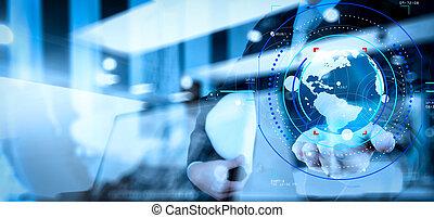 concept, réseau, business, double, tenue, social, la terre, ingénieur, structure, exposition