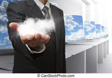 concept, réseau, business, main, spectacles, nuage, homme