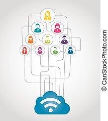 concept, réseau, business