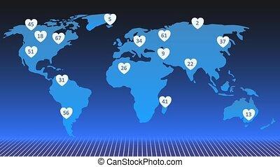 concept, réseau, cœurs, animation., apparence, social, mondiale, map., aimer