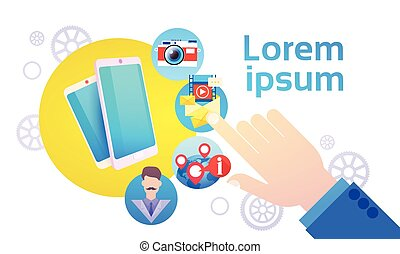 concept, réseau, communication, main, téléphone portable, bavarder, social, prise, intelligent
