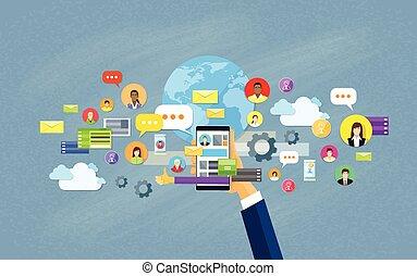 concept, réseau, communication, main, téléphone portable, social, prise, intelligent