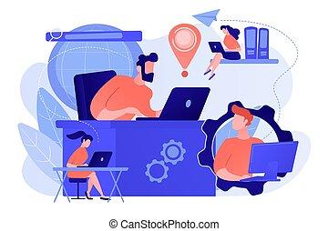 concept, réseau, connexion globale, illustration., vecteur